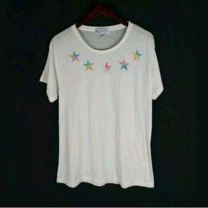 Wildfox sheer oversized star print t shirt